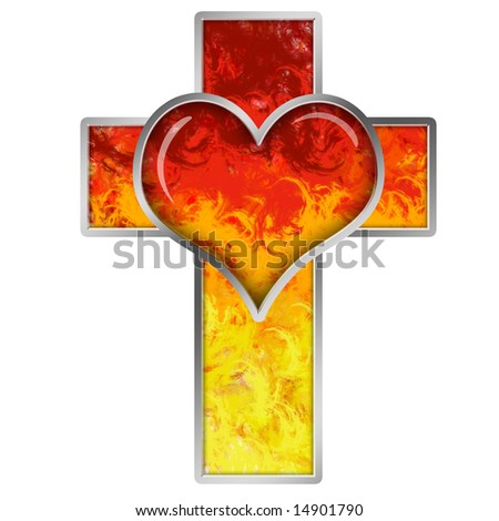 Cross with heart - stock photo