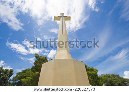 Cross with sky background - stock photo