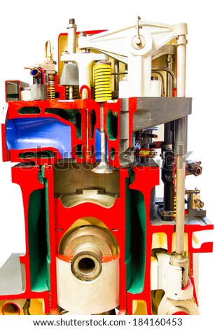Crossection cylinder engine of the ship - stock photo
