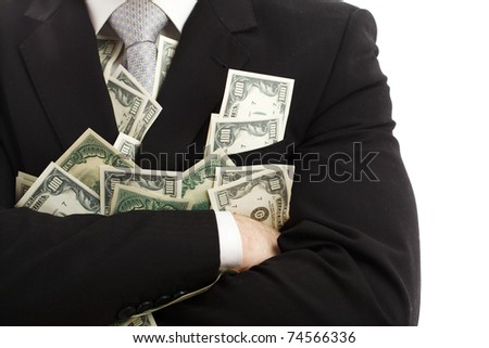 Crossed arms with dollars. Isolated over white. - stock photo