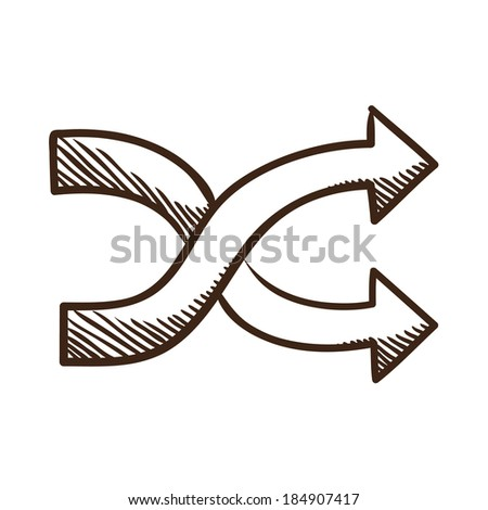 Crossed arrows. Isolated sketch icon pictogram.  - stock photo