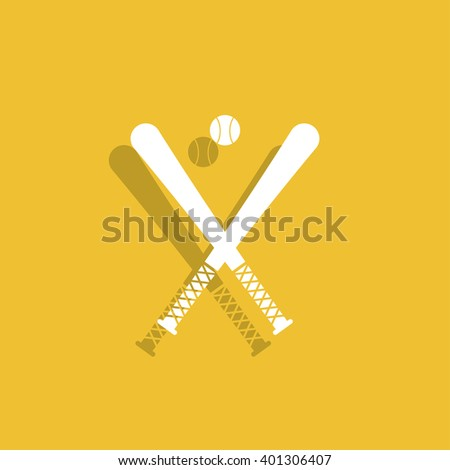 crossed baseball bats and ball set. - stock photo