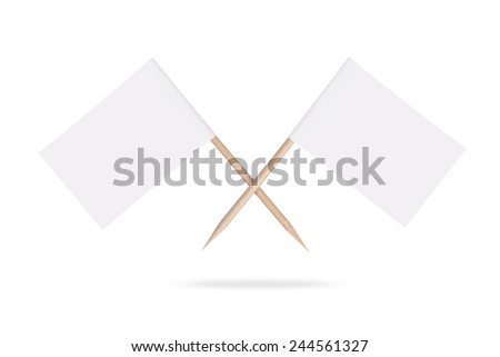 Crossed blank white flags. ready for a message .Isolated on white background - stock photo