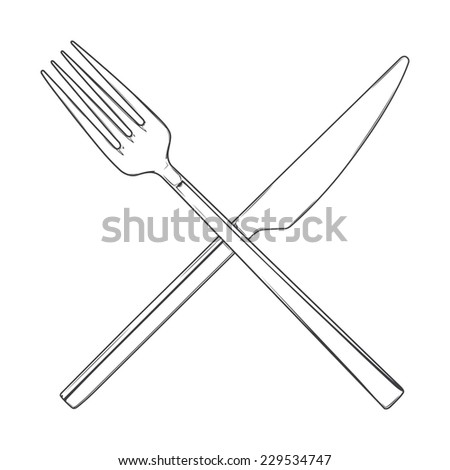Crossed Fork and Knife isolated on a white background. Cutlery concept. Hand drawn line art. Retro design. Raster copy. - stock photo