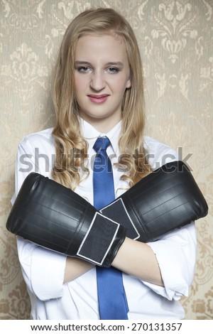 crossed hands in defens - stock photo