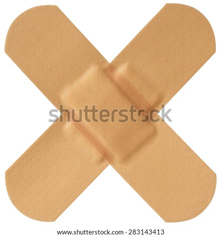 Crossed medical bandages isolated on white with clipping path included - stock photo