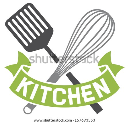 crossed spatula and balloon whisk - kitchen symbol (kitchen design, kitchen sign) - stock photo