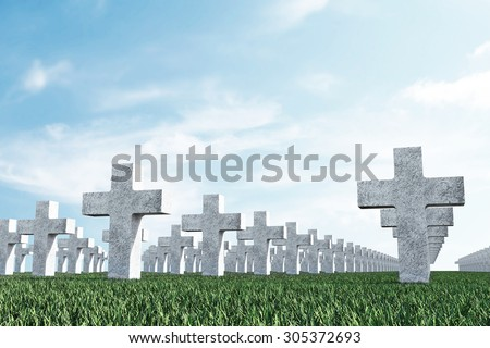 Crosses in Cemetery Memorial on Green Field with Clouds - stock photo