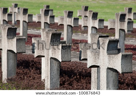 crosses in place of martyrdom of Poles - stock photo