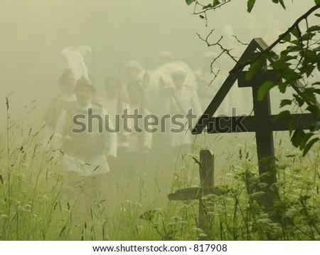 crosses in the cemetery - stock photo