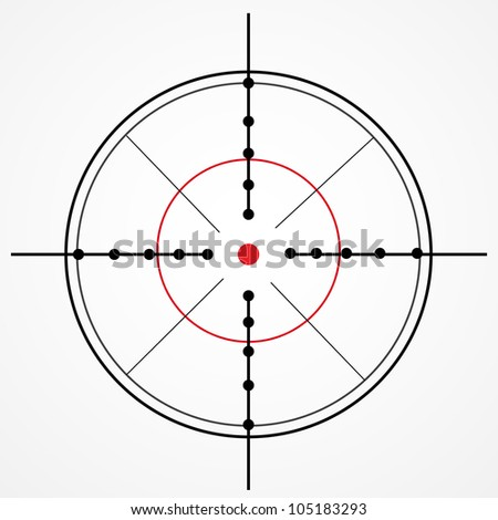 Crosshair with red dot on white - stock photo