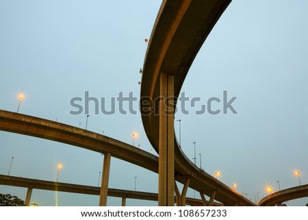 crossing highway overhead - stock photo