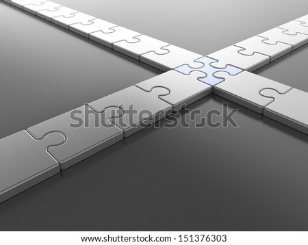 Crossing Puzzle Pieces - stock photo