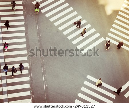 Crossing Sign Top view with People walking Business area - stock photo