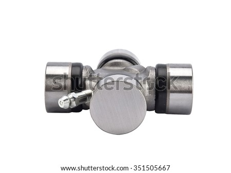 Crossings propeller shaft on white background. car spare parts - stock photo