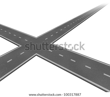 Crossroad concept with two roads crossing as a business symbol of decision taking and facing difficult financial choices deciding to choose the best path to success and wealth on a white background. - stock photo
