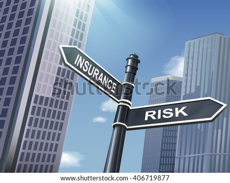 crossroad 3d black road sign saying risk and insurance - stock photo