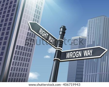 crossroad 3d black road sign saying wrong way and right way - stock photo