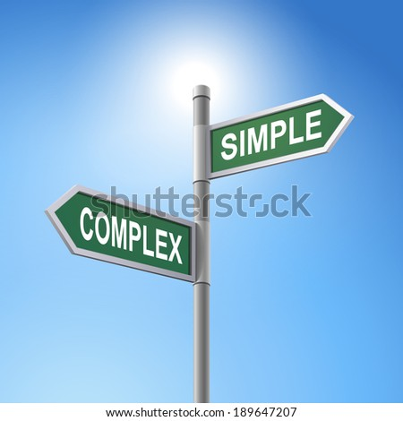 crossroad 3d road sign saying complex and simple - stock photo