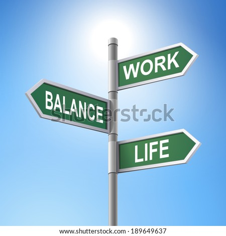 crossroad 3d road sign saying the balance between work and life - stock photo