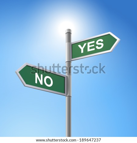 crossroad 3d road sign saying yes and no - stock photo