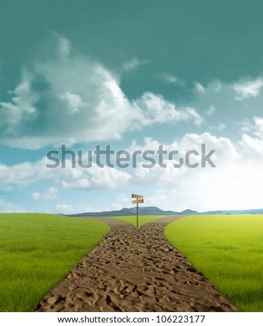 Crossroad dirt in rural landscape in sunset time - stock photo