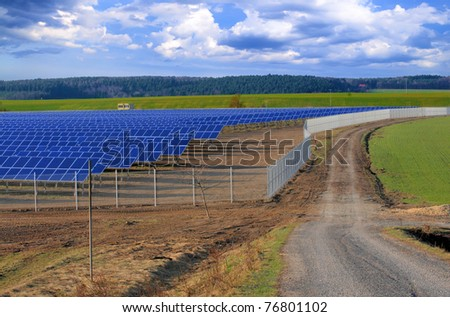 Crossroads at the solar power plant under construction. Thuringia, Germany - stock photo