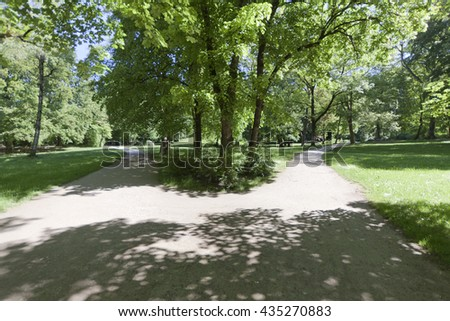 Crossroads in a lush green forest with a diverging pathway - stock photo