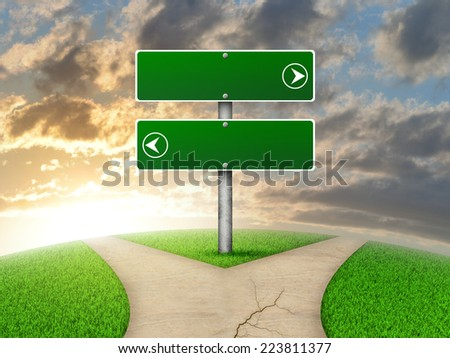 Crossroads road sign. Green grass, fork in the way and sky as backdrop - stock photo