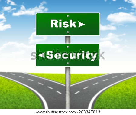 Crossroads road sign. Pointer to the right Risk, but Security left. Choice concept - stock photo