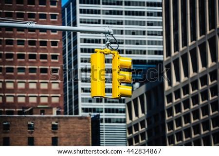 Crosswalk in New York City. Traffic lights on the streets of Manhattan - stock photo