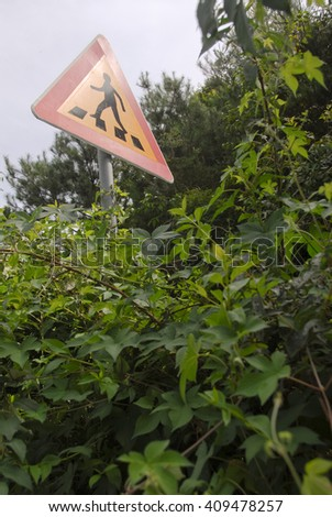 Crosswalk sign in the forest, in the summer/Crosswalk sign in the forest - stock photo