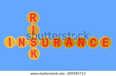 Crossword of golden coins with the words INSURANCE and RISK on blue background - stock photo