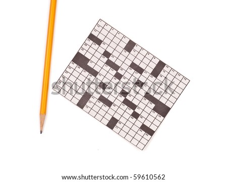 Crossword Puzzle and Pencil - stock photo