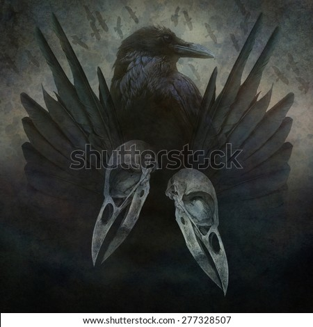 Crow Spirit design with head, skulls, black wings and bird flock in flight emerging from a dark, sinister atmospheric background. - stock photo