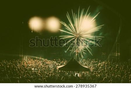 Crowd at concert - retro style photo - stock photo