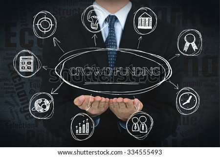 Crowd funding concept image with business icons. - stock photo