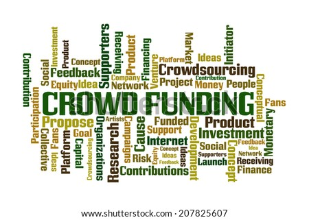 Crowd Funding word cloud on white background - stock photo