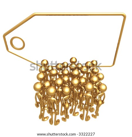Crowd In Front Of  Giant Blank Golden Price Tag - stock photo