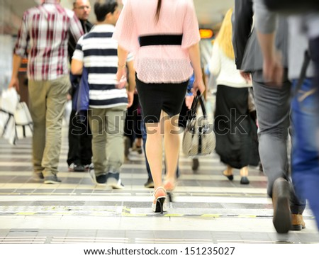 Crowd in the subway - stock photo