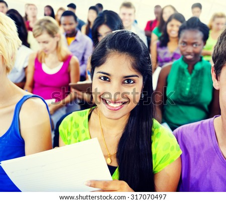 Crowd Learning Celebrating Casual Diverse Ethnic Concept - stock photo