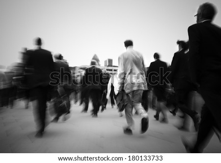 Crowd of Businessmen on Their Way to Work, London - stock photo