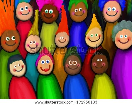 Crowd of Diverse People - stock photo
