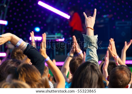 Crowd of fans at a music concert - stock photo