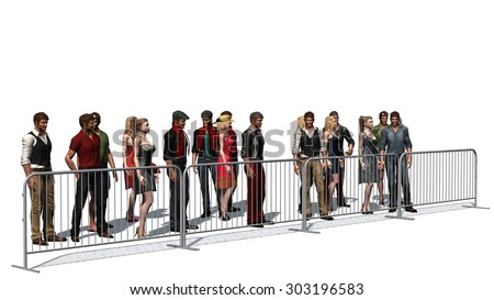 crowd of people behind metall fence - isolated on white background - stock photo