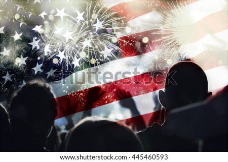 Crowd of people celebrating Independence Day. United States of America USA flag with fireworks background for 4th of July - stock photo