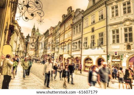 Crowd of people in streets of Prague. - stock photo