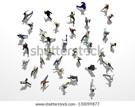 crowd of people running crisscross, seen from above - stock photo