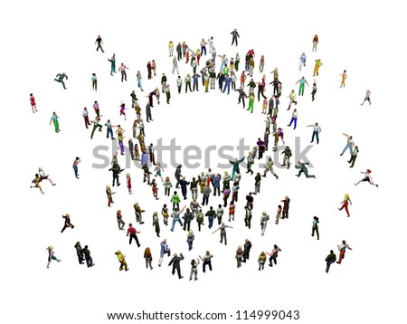 crowd of people stands around a center - stock photo