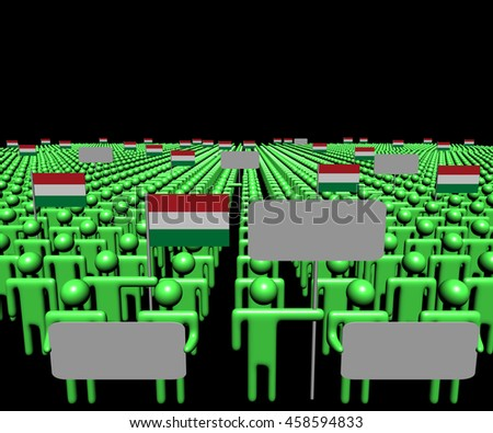 Crowd of people with signs and Hungary flags 3d illustration - stock photo